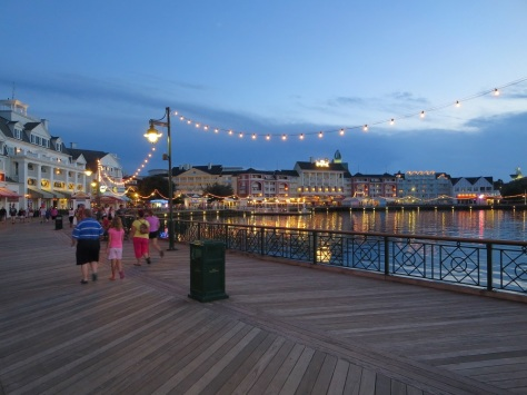 Disney's Boardwalk at sunset.